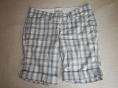 Abercrombie & Fitch Women's Plaid Gray Blue Shorts Size 2 #AbercrombieFitch #CasualShorts