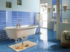 blue floor tiles corridor