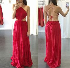 COLOR: Deep Red Backless design Crochet triangle front partTies up in the backCinched waistline Maxi style FIT GUIDE: Loose fit at the bottomFits smaller in