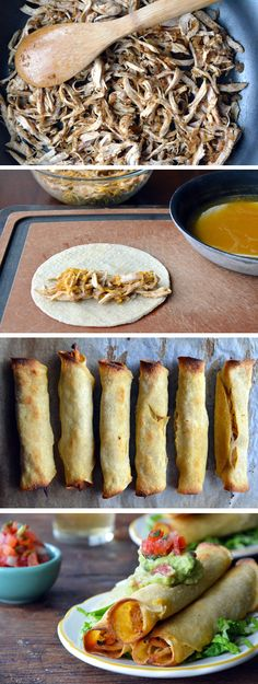 Baked Chicken and Cheese Taquitos // Recipe Think Food, I Love Food, Good Food, Yummy Food, Chicken And Cheese Taquitos Recipe, Chicken Taquitos Baked, Chicken Tacos, Recipe Chicken, Mexican Food Recipes