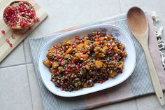 a dash of zest: Roasted Butternut Squash, Lentil & Farro Salad with Pomegranate & Tahini Dressing