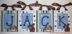 Playful Pup Puppy dog Custom canvas 8x10 name sign wall art boy green doggie bone puppies brown green blue nursery stripes dots. $13.00, via Etsy.