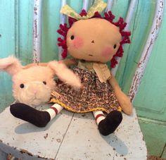 Easter Bunny  Raggedy Ann Doll  Rag Doll  by oldragdollcupboard