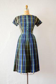 vintage 1950s blue green plaid cotton day dress