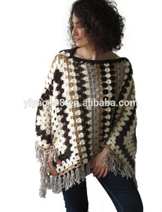 stylish high fashion granny square crochet poncho plus size over size knitted poncho for fashion women
