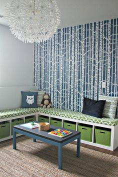 Play room storage and seating, I want to do this to my office/deuce's playroom