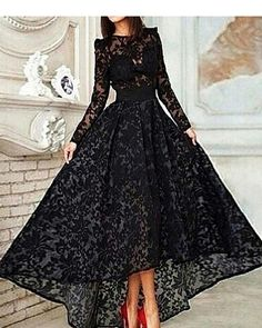 New Vintage Black Lace With Long Sleeves Modest High Low Elegant Formal  Evening Party Prom Dresses 6fa8ea5bbaf2