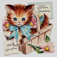 Vintage Little Brown Kitten in Basket Happy Birthday Grandma Greeting Card | eBay