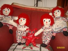 Raggedy Ann and Andy dolls and little monster that I made for Christmas gifts.