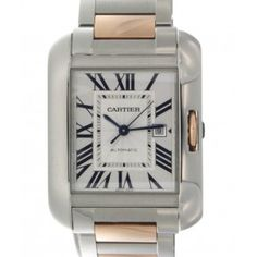 Cartier automatic-self-wind womens Watch (Certified Pre-owned) Certified Pre Owned Cars, Pre Owned Watches, Square Watch, Red Gold, Cartier, Women Jewelry, Clock, Steel, Accessories
