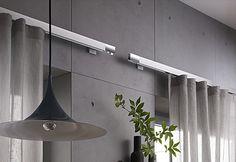 Beautiful clean aluminum inside rail drapery hardware by JAB ANSTOETZ - perfect Metropolitan style...