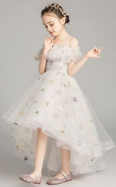 Starry Night Princess High Low Gown 2 to 14 Years (Girls Halloween Dresses & Boys Outfits). Please allow a minimum of 4 week for delivery. Frocks For Girls, Gowns For Girls, Wedding Dresses For Girls, Kids Bridesmaid Dress, Cute Girl Dresses, Pretty Dresses, Flower Girl Dresses, Lace Flower Girls, Kids Dress Wear