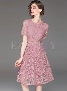 c018db41388 Dresses | Skater Dresses | Solid Color O-neck High Waist Dress Φορέματα  Skater,