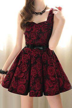 Rose Floral Printed Dress