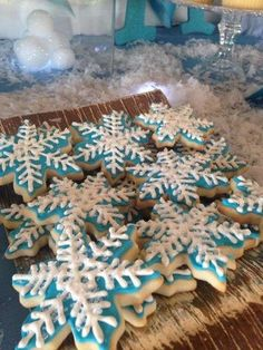 Snowflakes cookies at a Frozen birthday party! See more party planning ideas at CatchMyParty.com!