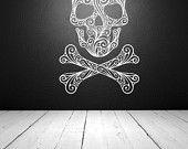 Wall Decal Sugar Skull Crossbones Tattoo Rock and Roll Dorm Decor Halloween