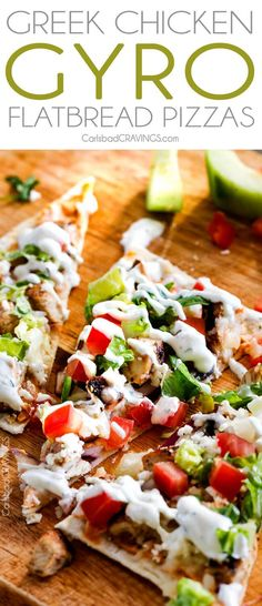 These quick and easy Chicken Gyro Flatbread Pizzas layered with sun-dried tomato basil hummus, flavor bursting Greek Chicken, red onions, mozzarella and feta all drizzled with easy Blender Tzatziki make the most satisfying lunches/dinners or a super fun a Flatbread Pizza Recipes, Chicken Flatbread, Chicken Gyros, Flatbread Appetizers, Flatbread Ideas, Hummus Pizza, Caprese Chicken, Gourmet, Pizza