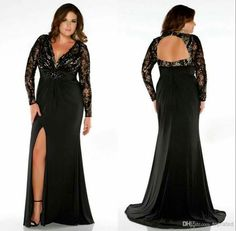 black Prom Dresses,long prom dress,long sleeves prom Dress,side slit prom dress,plus size evening dress Plus Size Formal Dresses, Plus Size Gowns, Prom Dresses Long With Sleeves, Black Prom Dresses, Dress Long, Dress Prom, Lace Dress, Peplum Dresses, Tulle Gown