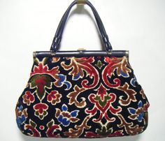 Vintage 60's Tapestry/Carpet Handbag Purse Bag. $35.00, via Etsy.