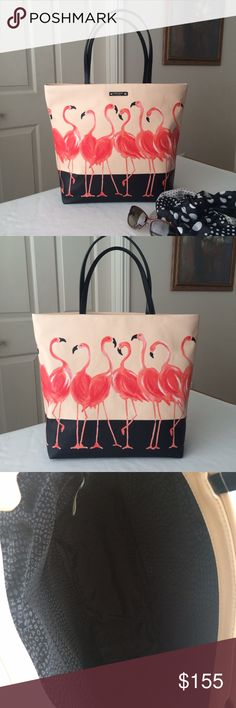 """HP KSNY flamingo bon shopper Authentic Kate Spade Bon Shopper """"take a walk on the wild side"""" flamingo print, coated canvas tote bag. Measures approx. 16""""w x 13.5""""h x 5""""d; strap drop about 8"""". Brand new with tags and care card. Note: matching pouch/clutch/cosmetic case also available in my closet; bundle also available, see listing in my closet. kate spade Bags Totes"""