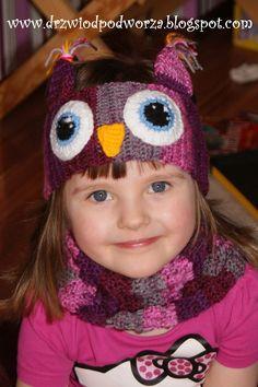 Drzwiodpodorza - Crochet owl headband and neckwarmer - opaska sówka dla dziewczynki i komin na szydełku