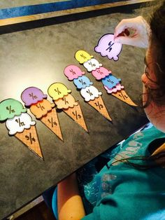 Free Equivalent Fractions Ice Cream Match – My kids love this activity in our centers. Teaching Fractions, Math Fractions, Multiplication, 3rd Grade Fractions, Dividing Fractions, Teaching Math, Fraction Activities, Math Activities, Fraction Games