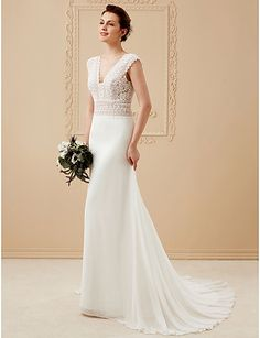 A-Line V Neck Court Train Chiffon Corded Lace Custom Wedding Dresses with Lace by LAN TING BRIDE®