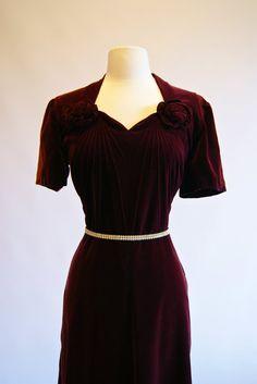 1940s Dress Vintage 40s Burgundy Velvet Cocktail by xtabayvintage