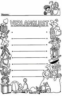 Wish List Sinterklaas Diy For Kids, Cool Kids, Crafts For Kids, Adult Coloring, Coloring Pages, Saints For Kids, Butterfly Kisses, Secret Santa, Christmas Colors