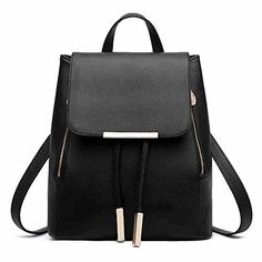 nice Girls Drawstring PU Leather Double Shoulder Backpacks, Satchel Rucksacks for High Middle School College Women Students, Travel Hiking Picnic Climbing Shopping Dating Party Daypacks for Teens Girls, Buckle (Black)