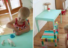 DIy Ikea hack (IKEA LATT child's play table and and chair) : Add a little color with chalk paint on the table and by wrapping the chair with yarn (tutorial)