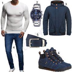 Blaues Winteroutfit mit weißem Rippen-Pullover (m0821)