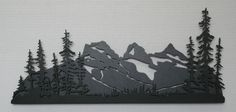 Three Sisters Mountain + Trees - Jim`s Metal Art