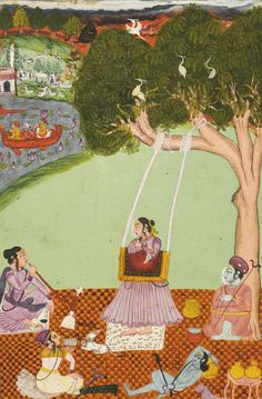 A yogini leaning on a swing for support in her practice. Rajasthan, Bundi, mid - late 18th Century