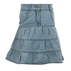Cumberland Outfitters Girl's 3-Tiered Denim Skirt