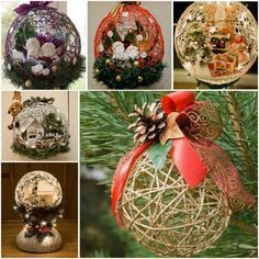 Idea for making string ball ornaments.  Tutorial.