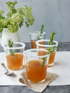 Rosemary-infused honey sidecars