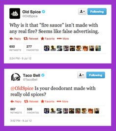 That time Old Spice stirred the pot with Taco Bell, and then Taco Bell did it right back.   14 Times Brands Showed Their Sassy Side On Twitter