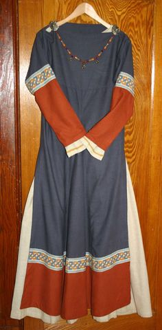 Blue and rust dress