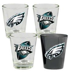 Philadelphia Eagles Shot Glasses - Set of 4 $19.99 http://store.philadelphiaeagles.com/Philadelphia-Eagles-Shot-Glasses---Set-of-4