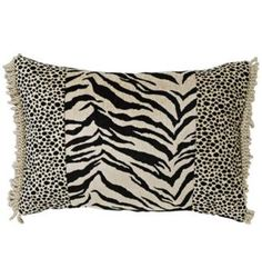 Black Zebra & Cheetah Patchwork Pillow