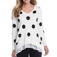 ✔️30% OFF BUNDLES🎉HP🎉Size M-Pullover Dot Sweater A playful dot print gives distinctive styling to this v-neck sweater by Chelsea & Theodore. *Featured in ivory and black *V-neck. *Long sleeves. *Dot print. *Drape hem. *Made of cotton and polyester. MSRP is $88. Chelsea & Theodore Sweaters V-Necks