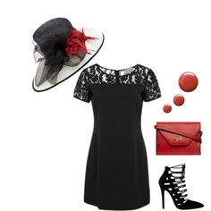 Let your hat do the talking! Wolf & Whistle Lace Top Shift Dress #lace #dress #heels #bag #red #black #hat #ascot #topshop #nailpolish #wolfandwhistle