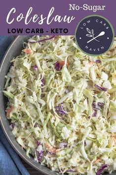 This easy keto coleslaw recipe is cool and creamy. The sugar free coleslaw dressing has a touch of sesame oil which adds a sweet-smoky flavor. Take this low carb side salad to barbeque, picnics, and pot lucks. via Low Carb Maven Healthy Coleslaw Recipes, Best Coleslaw Recipe, Low Carb Coleslaw, Homemade Coleslaw, Creamy Coleslaw, Easy Healthy Recipes, Sugar Free Coleslaw Dressing Recipe, Healthy Coleslaw Dressing, Low Carb Salad Dressing