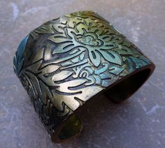 Iridescent gold and green polymer clay cuff by adrianaallenllc