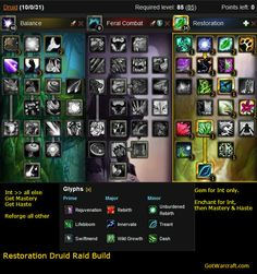 Restoration Druid Raid build, with glyphs and notes.