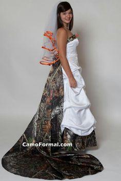 Wedding dresses on pinterest orange wedding dresses red for Orange and camo wedding dress