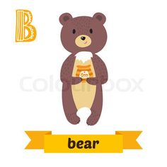 Bear. B letter. Cute children animal alphabet in vector. Funny cartoon animals…