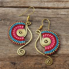 Shaped brass and waxed cotton funky tribal earrings by cafeandshiraz