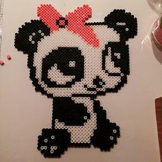 Panda hama beads by Fuse Beads, Hama Beads, Crafts To Do, Bead Crafts, Peler Beads, Panda Love, Melting Beads, Bead Kits, Cute Drawings
